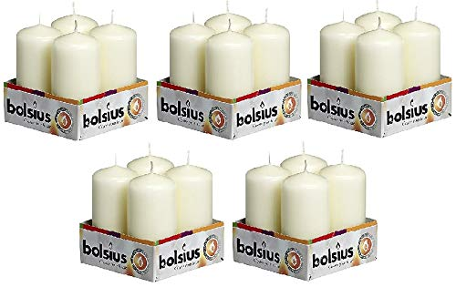 BOLSIUS 103613300905 Pillar Candle, Paraffin Wax, Ivory, Pack of 4 (5 Sets)