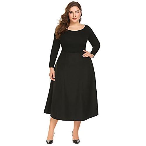 Dickin Women Plus Size High Waist A-Line Flared Long SkirtXL-5XL