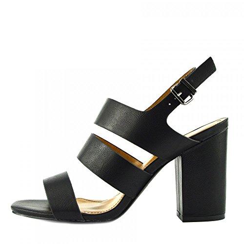 Kick Footwear - Damen Sandaletten mit Schnalle Ankle Strap Black Patent Sandalen Schwarz Matt