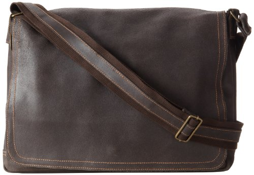 David King & Co. Leather Full Flap Laptop Messenger L Distressed, Cafe, One -