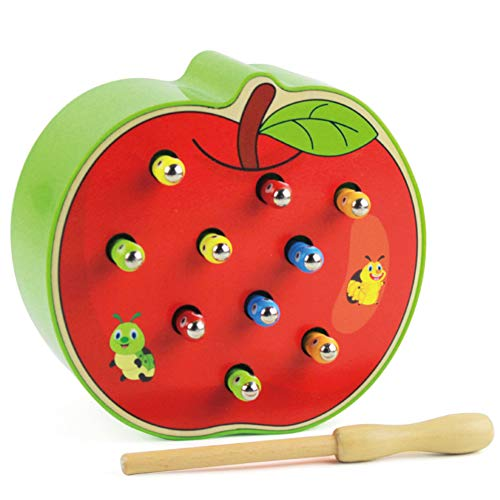 Aoile Baby Wooden Toys 3D Puzzle Early Childhood Educational Toys Catch Worm Game Color Cognitive Magnetic Strawberry/Apple Apple ()
