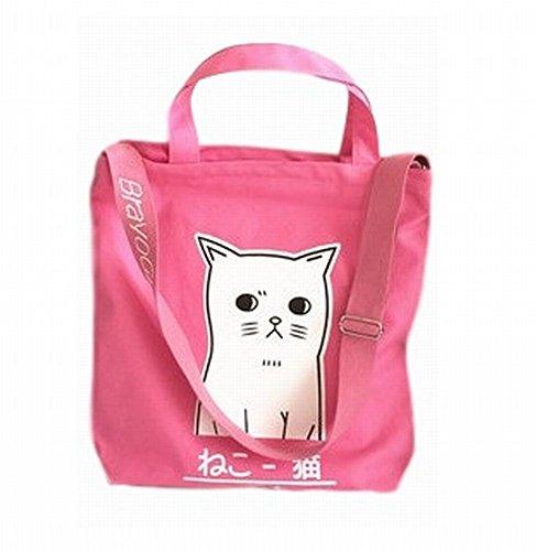 [POJ Harajuku Fashion Style Canvas Shoulder Bag Cat Pattern [ Color Black / Pink ] Japan Cosplay] (Cute Diy Halloween Costumes Ideas)