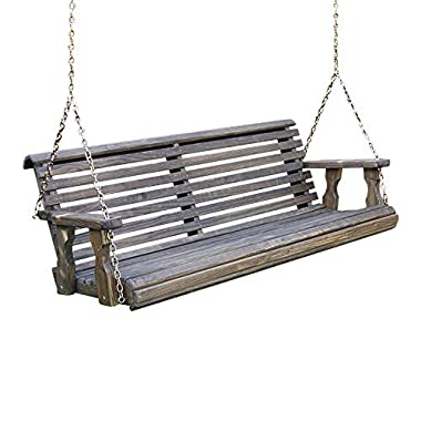 Amish Heavy Duty 800 Lb Roll Back Treated Porch Swing with Hanging Chains (4 Foot, Dark Walnut Stain)