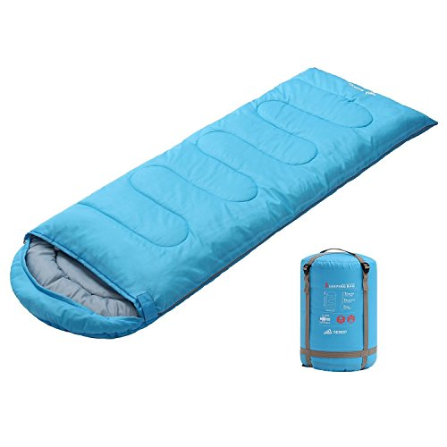 SEMOO Envelope Sleeping Bag - Lightweight Portable, Water Resistant, Comfort with Compression Sack Temp Rating 23F/-5C - Great for 3 Season Traveling,Backpacking, Camping, Hiking
