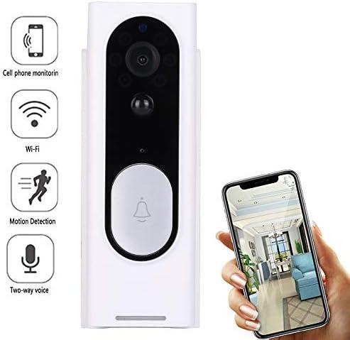 ワイヤレスビデオ呼び鈴音声インターホン166°ドアベルを監視広角720PHDナイトビジョンPIRモーション検知、無線映像スマートドアベル音声インターコムホーム警報無線LAN