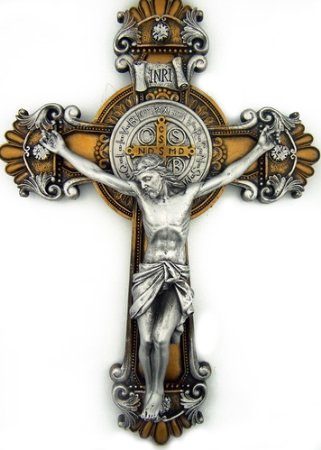 St. Saint Benedict Crucifix 2 Tone Wall Cross 10 Inch Religious (Crosses And Crucifixes)