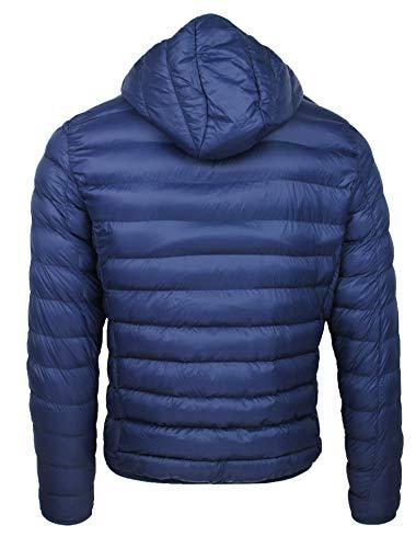 Invernale Fit Casual Cappuccio Con Slim Giacca Piumino Trade Uomo Giubbotto Blu 4w0pU