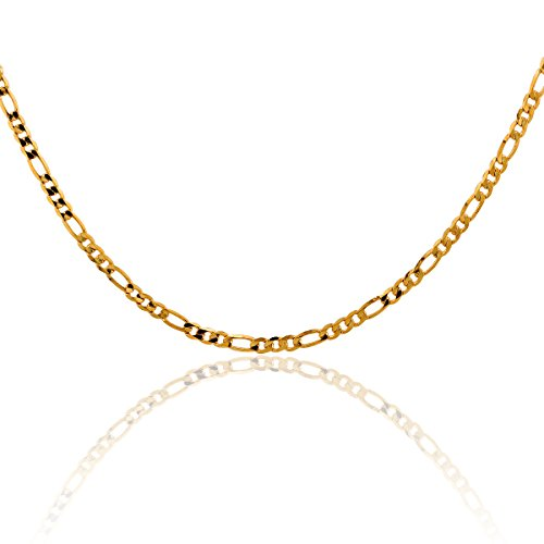 Windshow Children Yellow Gold Plated Hammered Solid Snail Curb Link Figaro Chain Necklace 14''