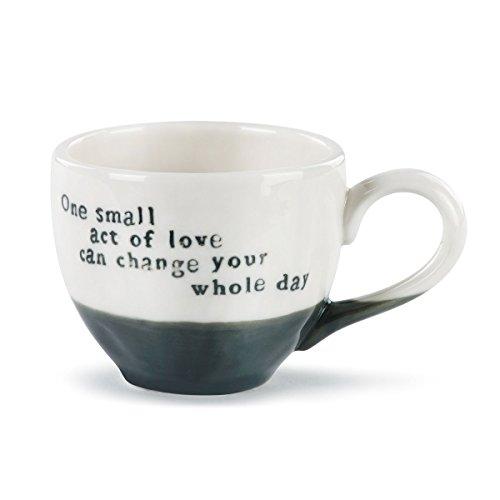 (Small Act Of Love Black Stripe 3 ounce Ceramic Stoneware Demitasse Espresso Cup)