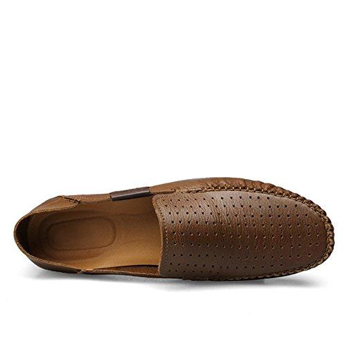 Comodidad Shenn Caqui1 Coche Zapatos Conducción Hombre Cuero Ponerse Mocasines IBIar