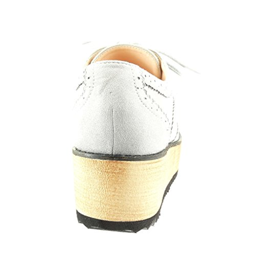 Angkorly - Scarpe da Moda Scarpe brogue zeppe donna perforato Tacco zeppa piattaforma 5 CM - Grigio