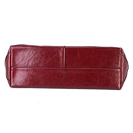 8827c15a152ca Mufly Damen Vintage Handtasche Echtes Leder Schultertasche klein Shopper  Taschen Burgund Henkeltasche  Amazon.de  Koffer
