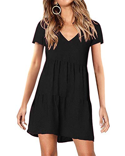 (kenoce Women's Short Sleeve Tunic Dress V Neck Summer Casual Mini Dress Pleated Loose Flowy Swing Shift)