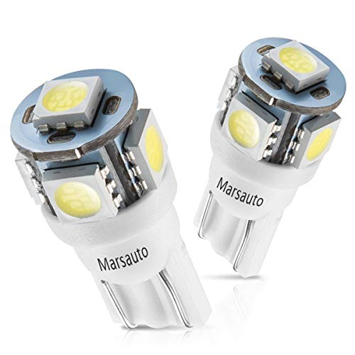 (Marsauto 194 168 T10 2825 5SMD LED Bulbs Car Dome Map License Plate Lights Lamp White 12V (Pack of 2))