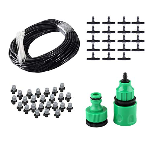 82FT Mist Cooling System with 25PCS Plastic Mist Nozzles For Outdoor Lawn Patio Garden Greenhouse