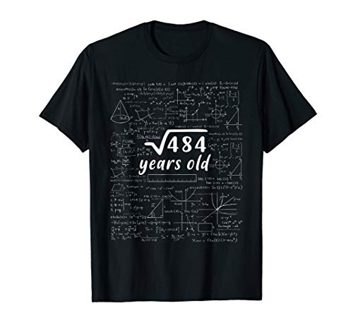 22nd Birthday Gift Square Root of 484: 22 Years Old T-Shirt