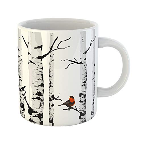 Emvency Coffee Tea Mug Gift 11 Ounces Funny Ceramic Gray Tree Bird of Birches Drawing Birch Silhouette Gifts For Family Friends Coworkers Boss Mug -