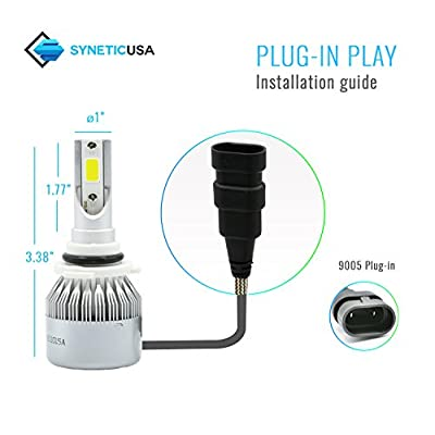 Syneticusa LED High Beam Headlight Conversion Kit Light Bulbs 100W 10000LM 6000K White (9005): Automotive