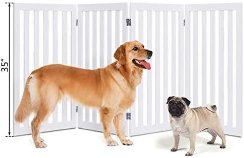 S AFSTAR Safstar Freestanding Wooden Pet Gate Indoor Doorway Hall Stairs Dog Puppy Folding Fence 4 Panels Safety Gate White 80
