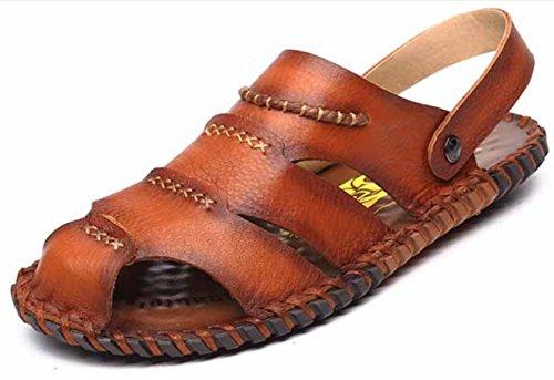 YCMDM Uomo Scarpe sandali nuovi maschio di cuoio casuali sandali britannici morbida spiaggia di scarpe fondo , brown , 43