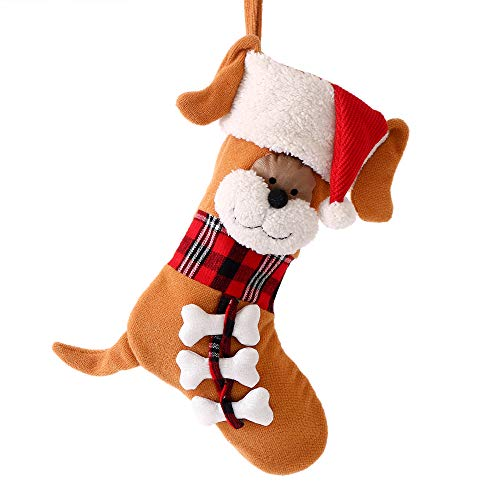Valery Madelyn 21 inch Joyful Pet Christmas Dog Stockings Personalized Hanging Stockings with 3D Doggie Face, Fur Cuff and Glittery Bones (Pet Collection)