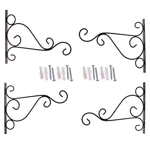 Orgrimmar Metal Plant Bracket 4 Packs Iron Wall Mount Lanterns Hangers for Hanging Bird Feeders, Lanterns, Wind Chimes, Planters, Outdoor Decoration Hooks