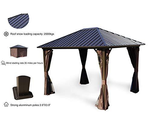 (Kozyard Rosana 10'x12' Hardtop Aluminum Permanent Gazebo with 2-Layer Sidewalls (Rosana)