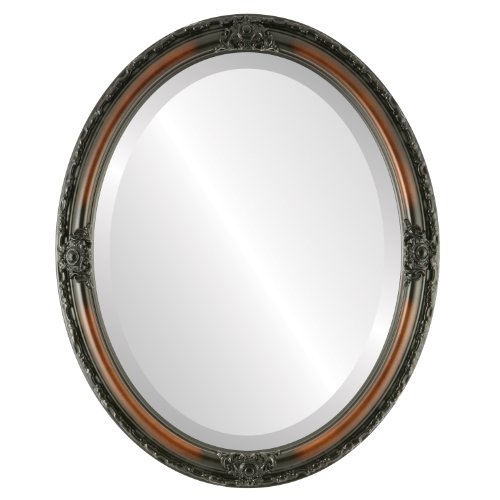 Oval Beveled Wall Mirror for Home Decor - Jefferson Style - Walnut - 22x26 outside dimensions