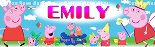 Personalized Nick Jr. Peppa Pig Banner Birthday Poster Custom Name Painting Wall Art Decor (Personalized Pig)