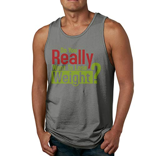 VANMASS Mens Do You Really Want to Lose Weight Logo Sleeveless Tank Tops T-Shirts XXL Deep Heather ()