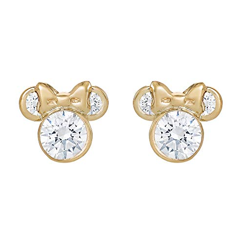 Disney Minnie Mouse 10K Gold Birthstone Stud Earrings, April Clear Cubic Zirconia; Mickey's 90th Birthday Anniversary Classic Mickey Mouse Earrings