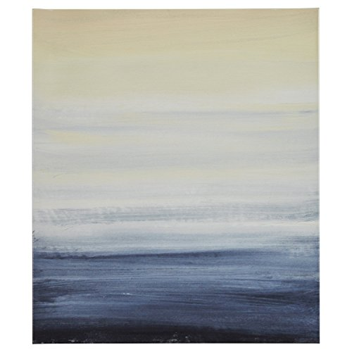 Modern Abstract Blue and Tan Ocean Print on Canvas, 24'' x 28'' by Stone & Beam