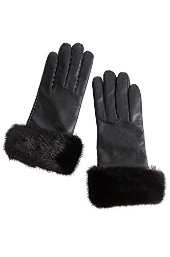 Women's Wool-Lined Lambskin Leather Gloves with Mink Fur Trim, BLACK/MAHOGANY, Size 8.5 - Black Leather Mink