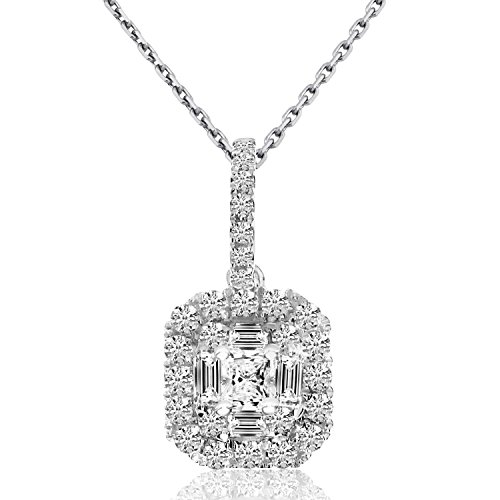 0.57 Carat (ctw) 14k White Gold Baguette Diamond Women's Cushion-shaped Pendant with 18