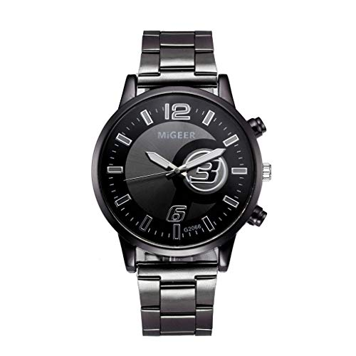 FEDULK Womens Crystal Stainless Steel Light Luxury Analog Quartz Fashion Girls Ladies Wrist Watch(Black, One Size) ()