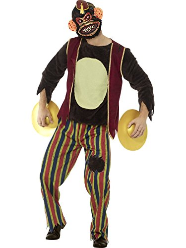 Monkey With Cymbals Costume (Smiffy's Men's Deluxe Clapping Monkey Toy Costume, Multi, Medium)