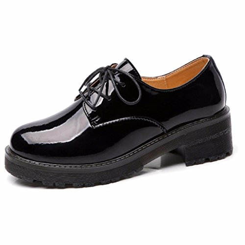 Moonwalker Shoes Up Black Lace Leather Oxfords Women's zqzF7xg