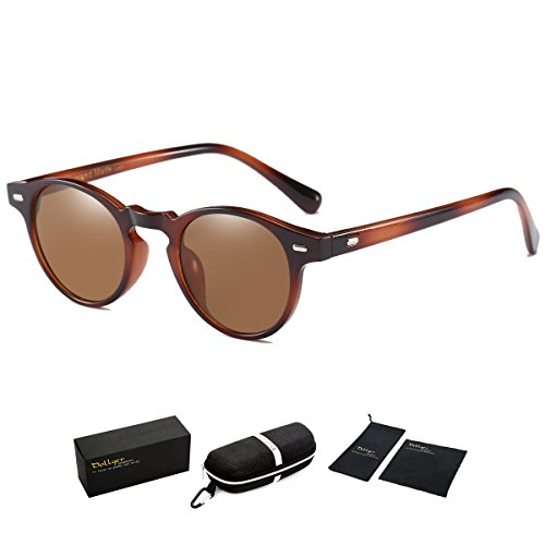 Dollger Classic Horn Rimmed Keyhole Nose Small Round Sunglasses with Metal Rivets (Brown Lens+Amber Frame, 100% UV protection - Brown Tortoise Sunglasses