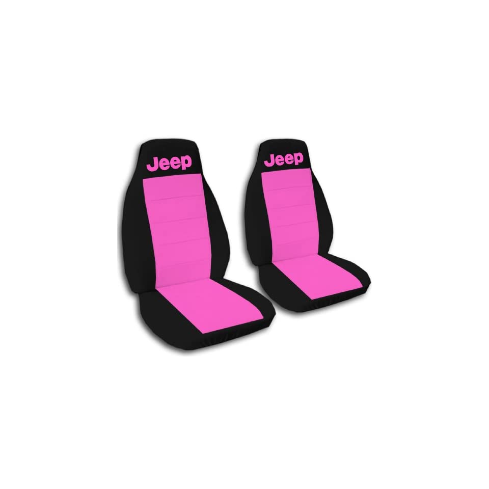 1990 Jeep Wrangler YJ seat covers. One front set of seat covers. Black and hot pink Jeep seat covers