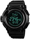 Men's Military Digital Watches Multi-Function Compass 50M Waterproof World Time Countdown 3 Alarm Stopwatch Sports Watch (Black)