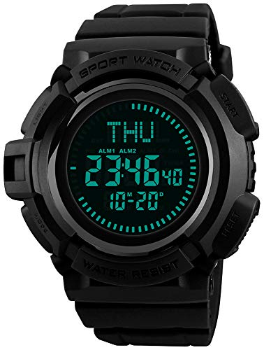 Men's Military Digital Watches Multi-Function Compass 50M Waterproof World Time Countdown 3 Alarm Stopwatch Sports Watch (Black) (Stopwatch Compass)