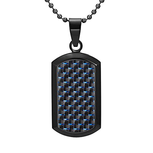 - Willis Judd Dog Tag Pendant Black Stainless Steel Blue Carbon Fiber Necklace & Gift Pouch