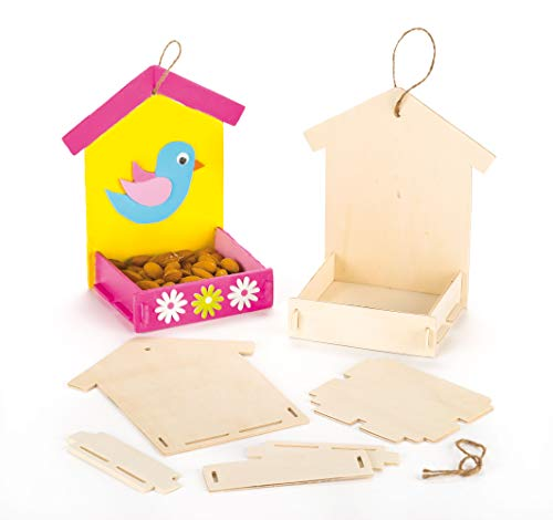 Baker Ross Wooden Bird Feeder Kit (Pack of 3) Paintable Crafts for Children to Build and Decorate