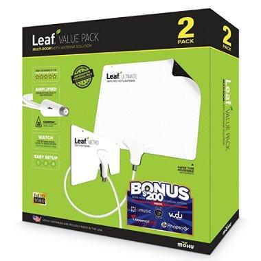 Mohu Leaf Ultimate Amplified Hdtv Antenna Value Pack Multi Room Hdtv Antenna Solution 50 Mile Range -