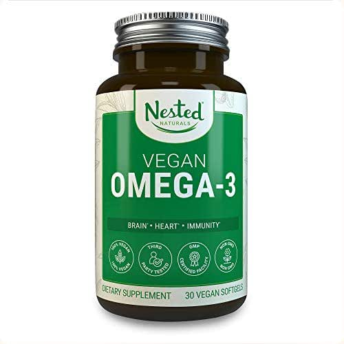 Vegan Omega 3 – Better Than Fish Oil | Improved Formula | 30 Capsules Algal DHA and EPA | Quality Plant Based Omega-3 Brain Supplement | Vegetarian Fatty Acids | Made from Algae Oil - No Fishy Burps
