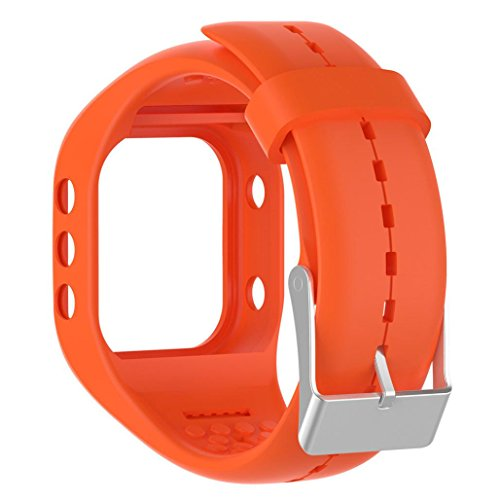 Price comparison product image Longay Replacement l Quick Release Silicage Band Strap Soft Silicone Rubber Watch Band Wrist Strap Compatible For Polar A300 Fitness watch (Orange)