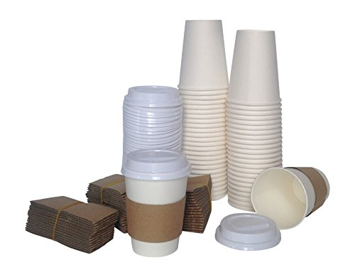 Corv's Cups Disposable Coffee Cups with Lids and Sleeves, 12-Ounce (Pack of 50) (Red Ice Cream Cones compare prices)