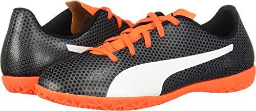 PUMA Unisex Spirit IT Jr Soccer Shoe, Black White-Shocking Orange, 1 M US Big Kid