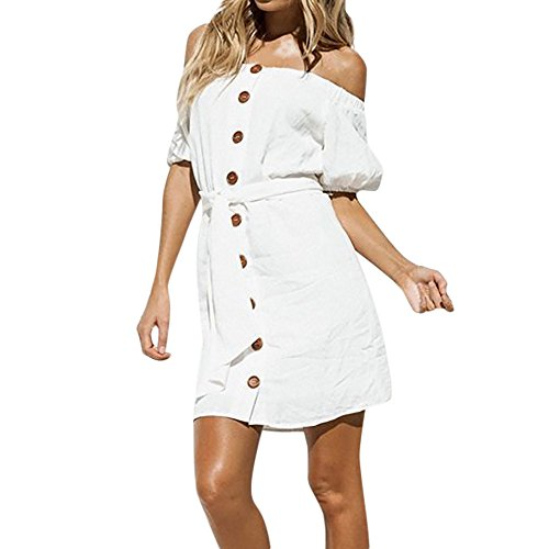 Women's Dress Clearance Sale,Farjing Women Summer Casual Off Shoulder Backless Dress Loose Party Dress Sundress(S,White)