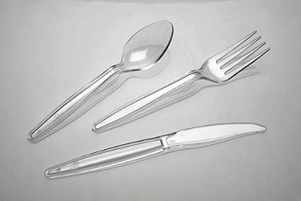 Salida Thali - Juego de plástico transparente resistente fuerte cubiertos (100 x cuchillos, 100